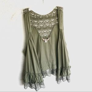 4/$20 Decree Hunter Green Lace & Crochet Vest